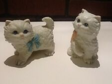 Homco Porcelain Cats - Sitting w/Pink Bow and Standing w/Blue Bow Vintage
