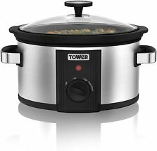 Tower Slow Cooker Stainless Steel with Keep Warm Function 2000W 3.5L Capacity