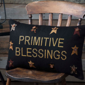 Primitive Blessings Crossed Stitched Appliqued Primitive Stars Felt Pillow 14x22