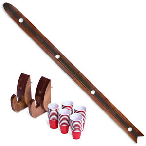 GoPong Das Shotten Ski | Rustic Wood 4 Person Drinking Ski with 50 Plastic Shot