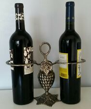 Wine Bottle Holder Metalware Grapes Leaves Kitchen Bar Decor 2 Bottles Caddy