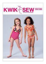 Kwik Sew SEWING PATTERN K4168 Girls Swimsuits XXS-L Age 3-10