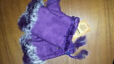 Winter Fingerless Leather Gloves Hand Wrist W/Rabbit Fur- Purple NWT Free Ship