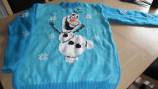 """New Hand Knitted Blue Christmas Xmas Olaf Jumper 36/38"""""""