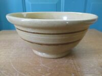 Vintage Yellow Ware Stoneware 8-Inch Mixing Bowl with Brown and Tan Stripes