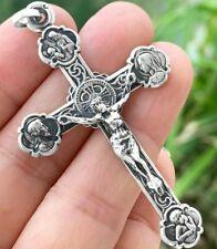 Croix de Jésus Jesus Cross Orthodox tréflée Crucifix Sterling Silver Argent