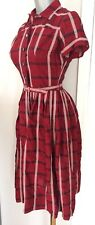 True Vintage 1940s 50s Red Black White Fit n Flare Dress - Gorgeous!