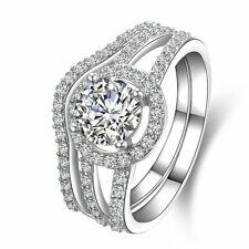 Rings Set Women'S Size 3-12 Ss1826 Round Cut Cz .925 Sterling Silver Wedding