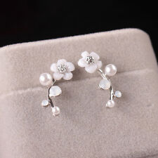 Korean Leaves Jewelry Gift Shell Unique Accessories Earrings Flower Pearl Stud
