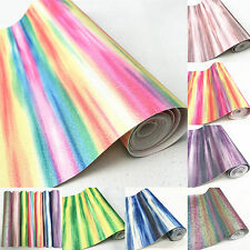 Rainbow Stripe Streak Fine Glitter Fabric 25*135cm Roll Faux Leather Bow Crafts
