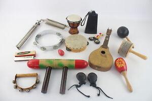 Job Lot Of Antique / Vintage MUSICAL INSTRUMENTS Inc. Maracas, Harmonicas