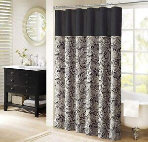 Madison Park Aubrey Shower Curtain Paisley Jacquard Pieced Microfiber Faux Silk