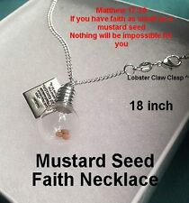 Religious Christian Jewelry Mustard Seed Charm Necklace Silver Christmas Gift