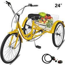 """24"""" Adult Tricycle 3-Wheel 1Speed Bicycle Trike Cruiser w/Tools & Lock"""