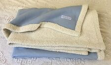 Baby's Dream blue suede Crib BLANKET cream Sherpa Very Soft Lovey