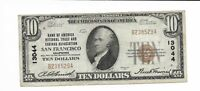 $10 1929 Bank of America National Currency Note Charter 13044 SFO San Fransisco