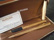 AURORA 98 SET PLACCATO ORO LAM. 22K PENNA STILOGRAFICA E SFERA +SCATOLA '60 Pens