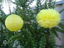 8x yellow paper pom poms & lanterns wedding party baby shower venue decoration