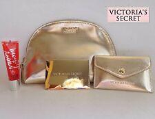 New Victoria's Secret 4 Pc Gold Beauty Kit Make Up Bag, Lip Gloss ,Mirror & Case