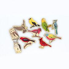 10 PZ Carino Birds botones Knopf Stampa Bottoni In Legno Scrapbooking ART. 280