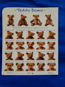 Teddy Bear Sheet of 20 37 Cent Postage Stamps History of Teddy Bears Unused 2001