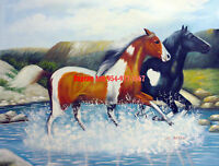 CULOP550 two horses runing in the river hand painted oil painting on canvas art