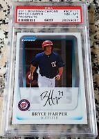 BRYCE HARPER 2011 Bowman Chrome #1 Draft Pick Rookie RC PSA 8 Phillies $$ HOT $$