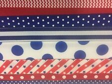 Grosgrain ribbon 4th of July 20 yards 1-1/2, 7/8,5/8, 3/8 20 different