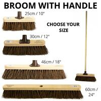 Stiff Garden Broom Head and Handle Heavy Duty Large Outdoor Sweeping Yard Brush
