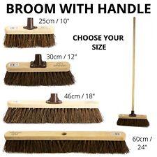Stiff Garden Broom Head and Handle Heavy Duty Large Outdoor Sweeping Yard Brush