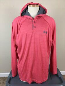 Under Armour Heatgear 1/4 Snap Hoodie Shirt Long Sleeve Loose Men's Size XL