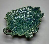 ROWE POTTERY WORKS Blue Stoneware PITCHER Cambridge Wisconsin Leaf Trinket Tray