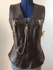 $355 NEW alberto makali women's brown leather vest gold ram's head h'ware Sz 6