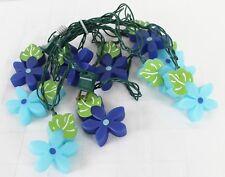 "10 Tropical Flowers String Lights Blue Plastic 8.5"" Lighted Length"