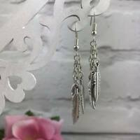 Feather EARRINGS Silver ANGEL WINGS Dangle Drop Hook Vintage BOHO Spiritual