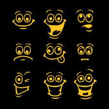 "3.2"" SMILEY FACES x9 Vinyl Decal Sticker Car Window Laptop Funny Face"