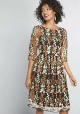 Modcloth Dress Vintage Spring Embroidered Floral Design By Lace And Mesh Small