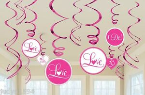 BRIDAL HANGING SWIRLS BRIGHT PINK WEDDING ENGAGEMENT PARTY SHOWER DECORATION
