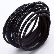 Slake Crystal Wrap Bracelet made w/ Swarovski Crystal Black Alcantara ® Leather