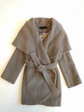 Elie Tahari Marla beige wool wrap coat XS