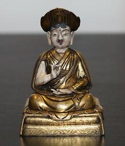 Antique Chinese Tibetan gilt bronze Buddha, Lama,19th century, Qing Dynasty RARE