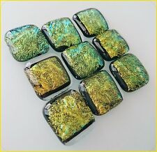 Lot Of 9 PCS Gold Dichroic Glass CABOCHON Smooth Square Beautiful NO HOLE Beads