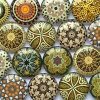 New Round Glass Cabochon Flatback Cameo Mixed Pattern Photo DIY Embellishments