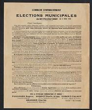 HENRICHEMONT (18) MAIRIE / TRACT ELECTIONS MUNICIPALES en 1924