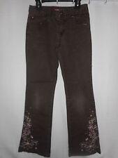 Girls' Bongo Pants Brown Top Stitching Everyday All Seasons Cotton Size 12 Euc