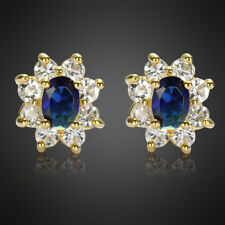 Sale! Lady Gift Oval Cut Blue Sapphire 18K Yellow Gold Plated Gp Stud Earrings