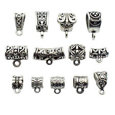 76 PCS Bail Beads Charms Collection - Silver Loop Barrel Curved Hole Tube Spacer