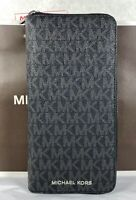Michael Kors Cooper Tech Zip Around Black MK Signature Wallet Purse
