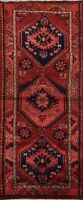 Vintage Geometric Hamedan Traditional Runner Rug Hand-knotted Wool Carpet 3x7