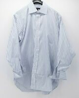 Robert Talbott Men's White Blue Striped Dress Shirt French Cuff  43  17  35.5
